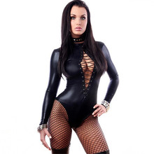 Buy huarache air 2018 PVC Siamese Tight Hollow Tie triangle Long sleeve Nightclub perform latex catsuit pole dance latex bodysuit