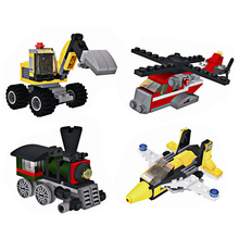 Plastic Assembly Toy Vehicles Small Particles Toy Puzzle Engineering Fire Truck Aircraft Model Self-Locking Bricks Toy