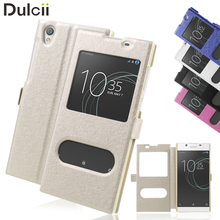 Buy Dulcii Sony Xperia L 1 Silk Texture Dual Window Stand Leather Phone Casing Sony Xperia L1 fundas Xperia L1 for $2.80 in AliExpress store