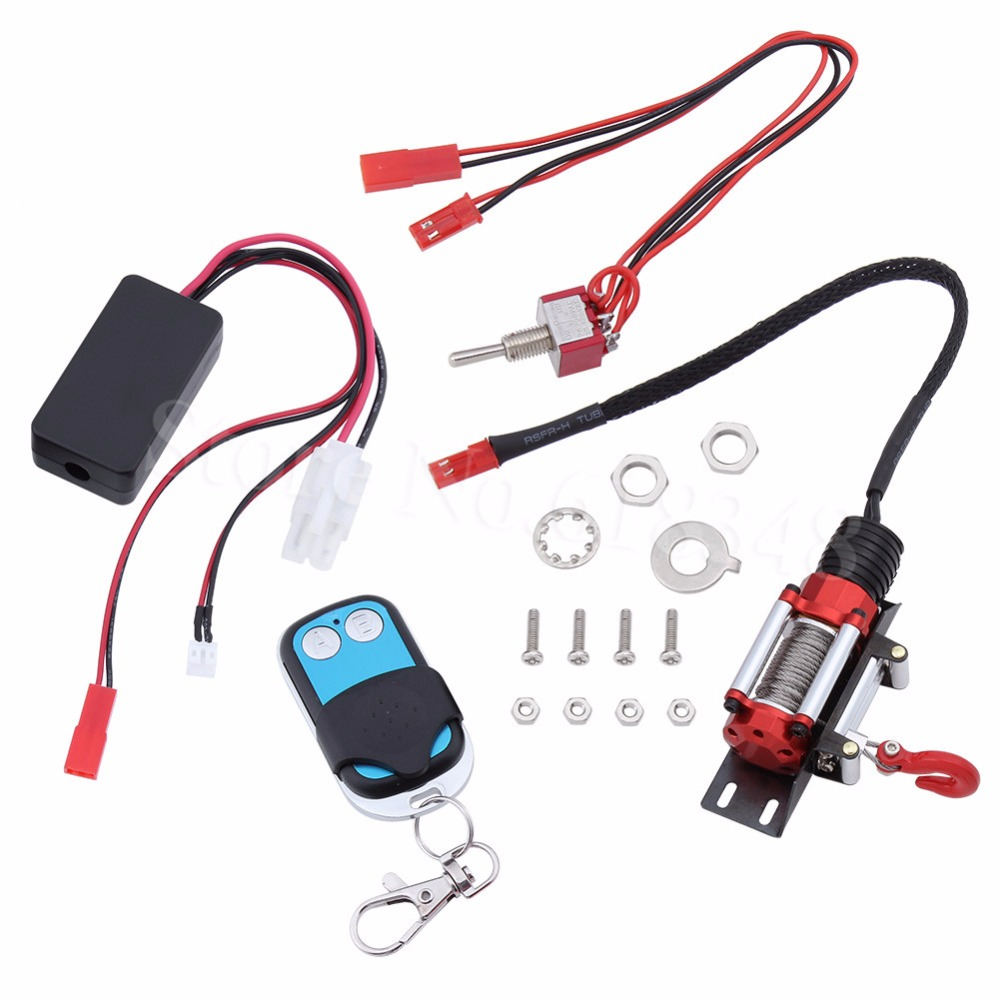 RC Crawler Automatic Winch &amp; Wireless Remote Control &amp; Receiver Set for 1/10 Axial SCX10 RC4WD D90 Rock Climbing Car Parts<br>