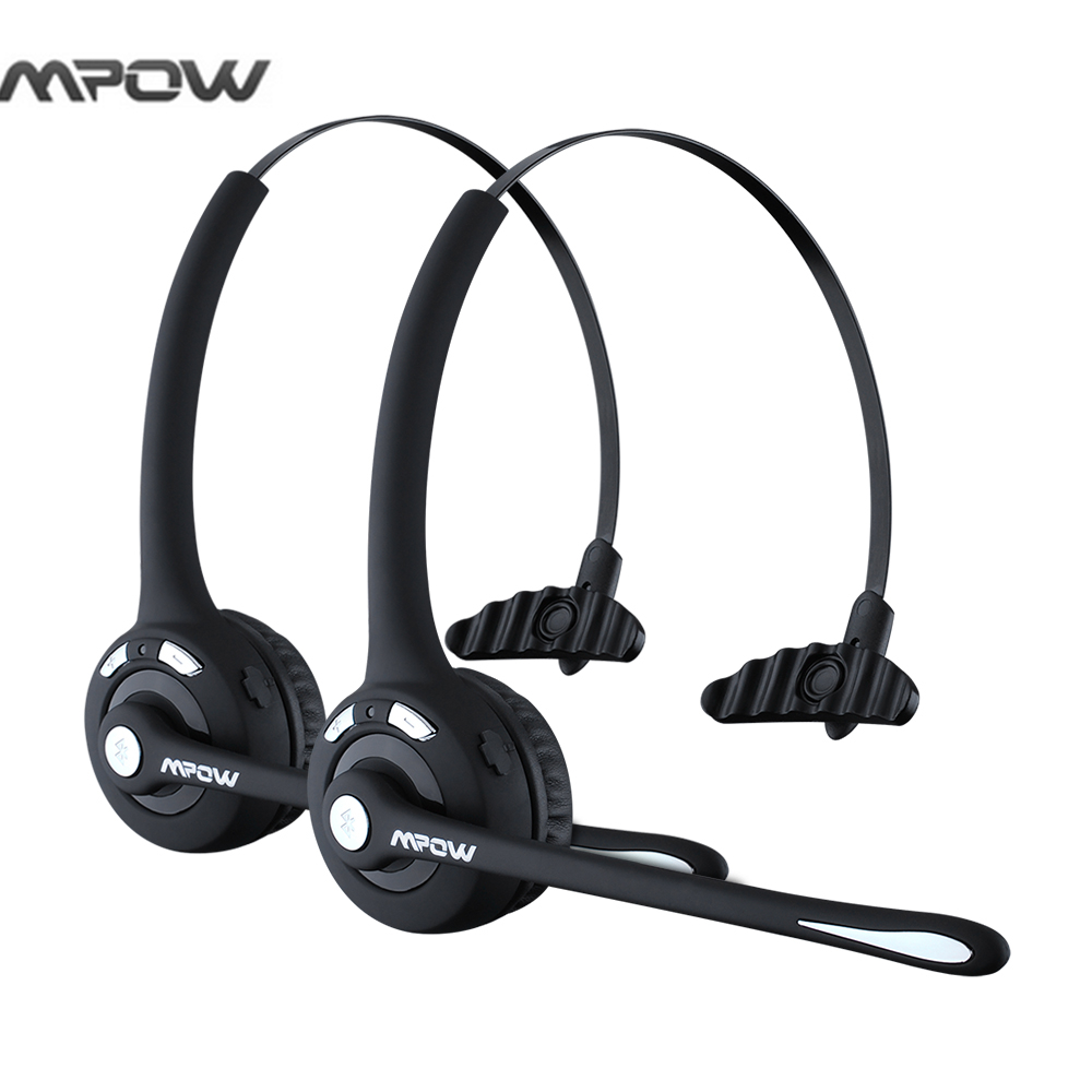 2pcs Mpow 2 in 1 Over-the-Head Drivers Rechargeable Wireless Bluetooth Headset with Mic Hands-free Noise Cancelling Headphones<br>