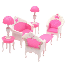 6pcs/lot Cute Lovely Dollhouse for Barbie Doll Furniture Playset Living Room Sofa