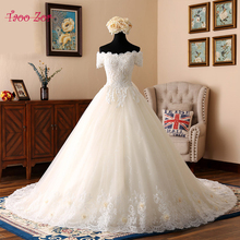 Buy TaooZor New Arrival Light Champagne A-Line Wedding Dresses Embroidery Floor-Length Chapel Train Bridal Dress robe de mariage for $339.29 in AliExpress store