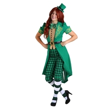 Adult Womens Spirited Chaming Irish Lucky Fairy Leprechaun Costume Prefect Green St. Patrick Day Outfit(China)
