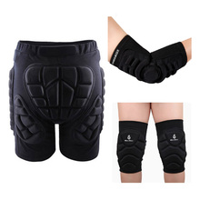 Skiing Skating Snowboarding Impact Protective Hip Pad Padded Shorts+Protective Knee Pads+Elbow Protector Protection(China)