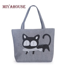 Cute Cat Ear Fish Canvas Handbag Single Shoulder Handbag Black Cat Canvas Beach Bag Woven Shoulder Handbags Women Canvas Tote
