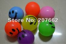 Free shipping 5.5cm rubber led bouncy ball with smile Light Up LED Flash Rubber Bouncy Balls for Party Fun