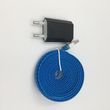 EU USB Charger & 2m Nylon Braided data sync charger USB cable for iphone 4 4s 3gs ipad 2 3 ipod classic nano touch