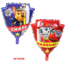 10pcs Double Face Dog Shield Dog Action Figure Toy Foil Inflatable Birthday Party Balloons Cartoon Doll Patrolling Children Gift