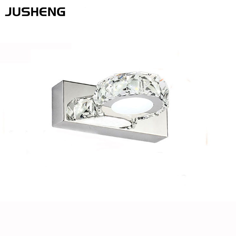 Mini LED Crystal Lights 3w Round Modern Bathroom Mirror Crystal Lights 16cm Long Bedside Wall Sconce
