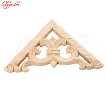 1PC Vintage Wood Carved Decal Corner Onlay Applique Frame Furniture Wall Unpainted for Home Cabinet Door Decor Crafts 6CM 8CM