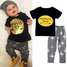 2PCS Children Clothes Sets Baby Boy Funny Letter MaMas Boy Printing Short Sleeve Tops Golden T Shirt Pants Suit Summer Clothes(China)