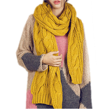 IMC Circle Cable Crochet Knit Scarf Shawl Wrap Winter Warm Cowl Neck Ginger Yellow(China)