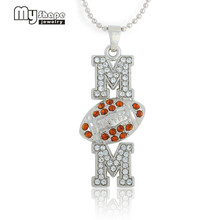 my shape Silver Plated Football rugby Mom Orange Crystal Paved Pendant Ball Chain Necklace Sports Women & Teen Women Jewelry