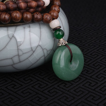 Evade Peace Aventurine Quartz necklace green,Nepal jewelry handmade sandalwoods long vintage pendants necklace(China)