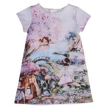 Summer Kid Girl Floral Ink Painting Dress One-Piece Short Sleeve Party Clothes Pretty Dress