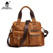 "DIOULAORENTOU Lightweight 13"" Genuine Leather Briefcase Retro Messenger Bag Men Leather Tote Bags Handbag Crossbody Bags for Man"