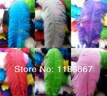 100pcs /lot for 1 color only dyed Ostrich Feather 16-18 inch 40-45cm Ostrich Drabs feathers Ostrich wedding centerpieces P015(China)