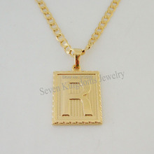 "Free Shipping/Min order 10$/ - YELLOW GOLD OVERLAY FILLED BRASS 24"" CUBAN NECKLACE&LETTER R INITIAL PENDANT/Great Gift/"