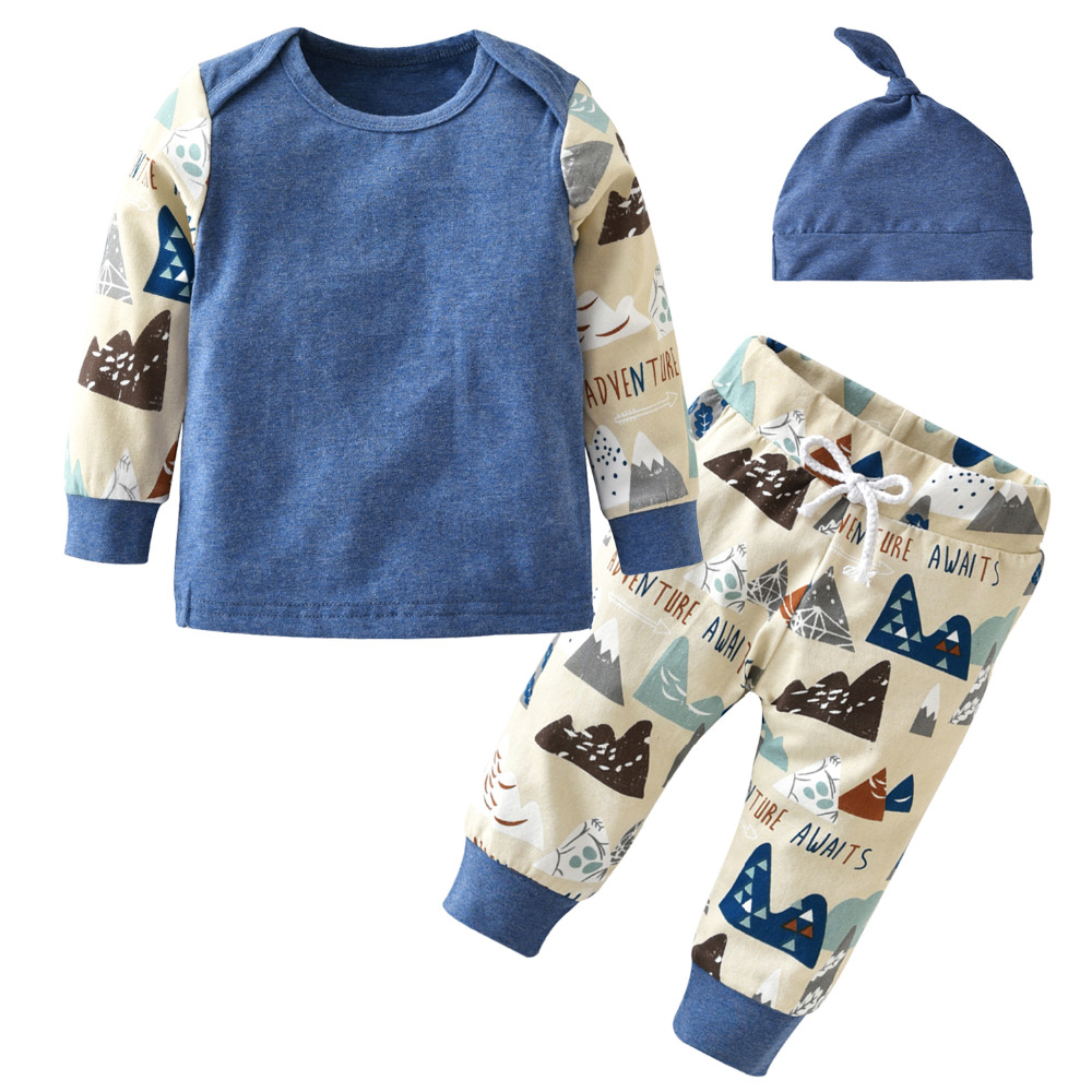 New 2017 Autumn Newborn Baby Boy Girl clothes Long sleeves Cartoon Image T-shirt+Pants+Hat 3 Pcs/Suit Infant Clothing Set(China)