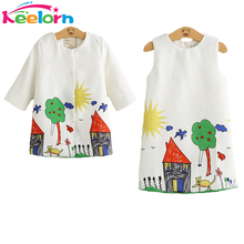 Keelorn Girls Clothing Sets 2017 Brand Winter Girls Clothes Graffiti Printing Girls Outerwear+Girls Dress for Children 3-8Y