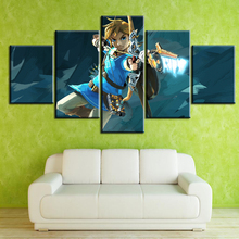 5 Panel Game The Legend Of Zelda: Breath Of The Wild Home Decor Wall Art Canvas Printed Painting Pictures Modern Artwork  Poster