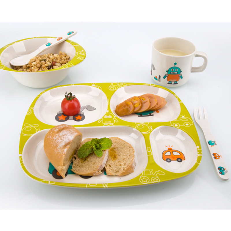 Bamboo Fiber Children Tableware Baby Dishes Kids Dinnerware Plate Bowl Cup Fork Spoon Baby Feeding Set For Toddlers Dishes Plate (2)