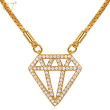 U7 Luxury Pendant Choker Necklace For Women Cubic Zirconia Silver/Gold Color Box Chain Fashion Jewelry N604(China)