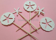 Sand dollar and Starfish Cupcake Toppers picks  Birthday Cupcake Topper, wedding bridal baby shower party cake topper