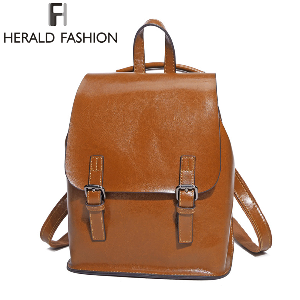 HERALD FASHION Genuine Leather Backpack Vintage College School Backpack for Teenage Girl Womens Natural Leather Backpack<br>