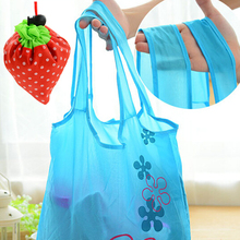 Strawberry Printing Fold Storage Shopping Bags Small Lovely Shoulder Bags for Travel Shopping Drawstring Mini Storage Bag Y5(China)