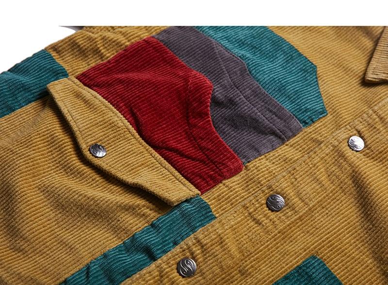 Aolamegs Jacket Men Corduroy Patchwork Men\`s Jacket Pockets High Street Fashion Casual Outwear Men Coat 2018 Autumn Streetwear (5)
