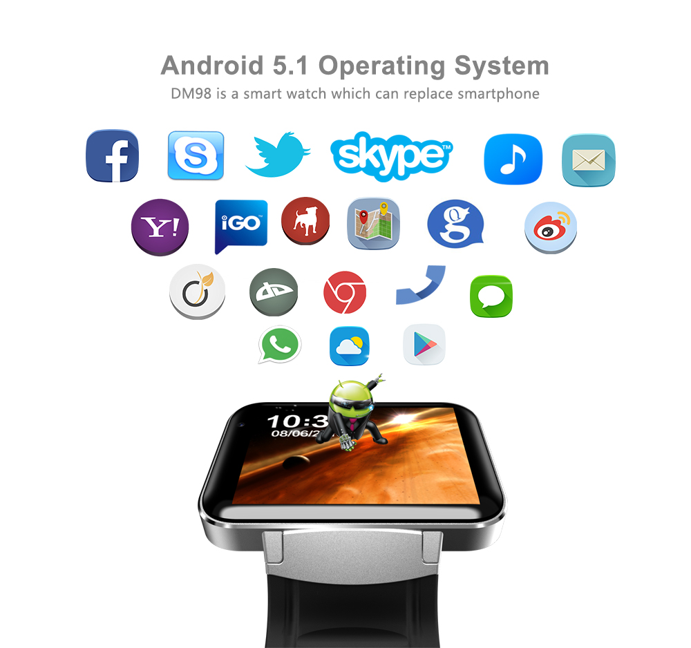 DM98 Smart Watch Android Phone 2.2'' Full View HD Screen Android 4.4 OS 3G Smartwatch Phone MTK6572 Dual Core 1.2GHz GPS WIFI