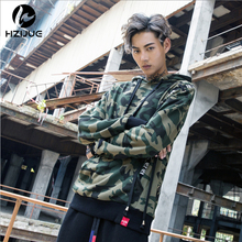 HZIJUE Side Buckle Ribbon Camouflage Hoodies 2017 Mens Hip Hop Casual Camo Pullover Hooded Sweatshirts Fashion Male Streetwears(China)