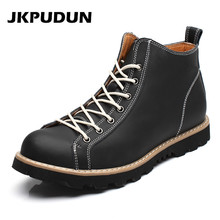 JKPUDUN Italian Fashion Martin Boots Men Genuine Leather Western Cowboy Man Ankle Boots Shoes Casual Designer Black Botas Hombre