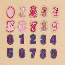 Free Shipping 10 pcs pink and blue color arab numbers Embroidered patches iron on badges Motif Applique hat shoe bag accessory(China)