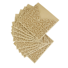 10Pcs Hollow Out Decorative Pattern Wedding Invitation Card Greeting Card Congratulation Card with Envelope(China)