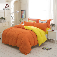 ParkShin Plain Double Bedding Set Orange And Yellow Solid Color Duvet Cover Set Soft Polyester Flat Sheet 3Pcs or 4Pcs