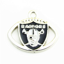 Hot selling 10pcs  NFL football Oakland Raiders  Team Logo Floating  Dangle charm pendant For DIY Neckacle Jewelry