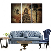 3 Picture Canvas Paintings Wall Art Stone Statue Buddha Picture Printed On Canvas with Wooden Framed For Temple Home Wall Decor(China)