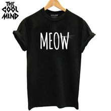 THE COOLMIND 100% Cotton Meow CAT Print Women T-shirt Short Sleeve BEST FRIEND T Shirt 2017 Hot Sale Lovely Cat Tops Tshirt(China)