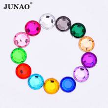JUNAO 8mm 2000pcs Round Glue On Crystal Rhinestones Flat Back Strass Crystals Non Sewing Stones Acrylic Gems for Clothes Crafts(China)