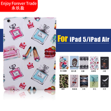 Stand Flip For Apple Ipad Air 1 / 5 Tablet Case Covers PU Leather + Back Silicon Inside Fashion Lovely Words Butterfly Paninted