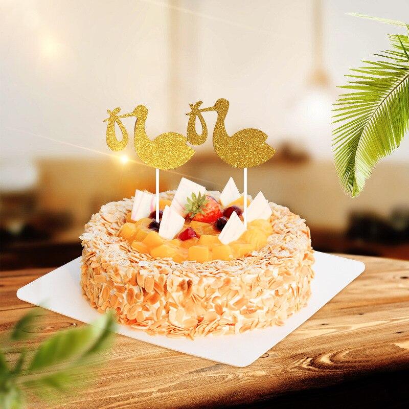 Cupcake Topper Bird Gold Cake Flags For Wedding Birthday Party Cake Baking Decor Supplies Xmas DIY New Year Baby Shower