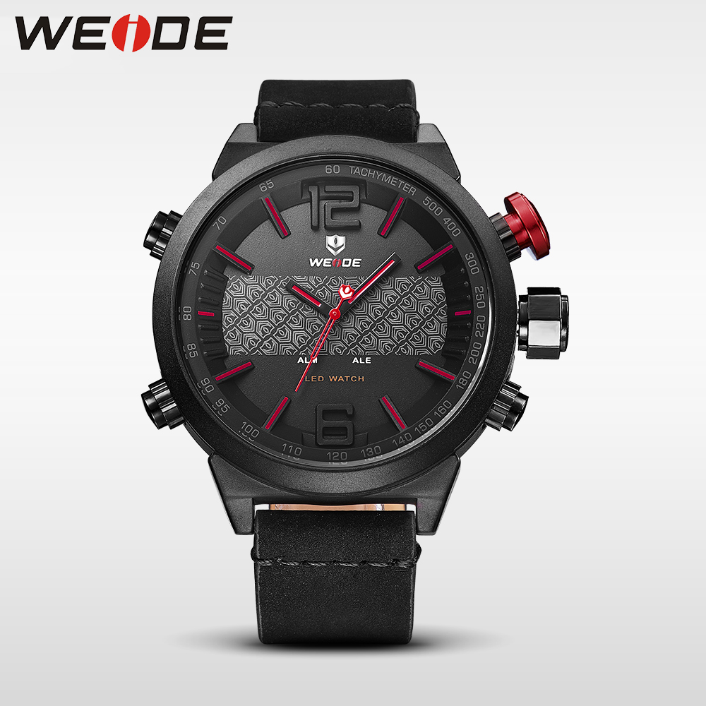 Weide Brand Luxury watch New Hot Men Sports leather Watches LED Digital Quartz Wrist Watches business analog men watch black<br>