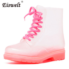 EISWELT Rain Boots For Women Transparent Candy Colors Heels shoes Mid-Calf Rubber Rainboots Lace Up Water Boots Shoes#ZQS164(China)