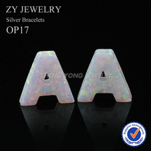 Free Shipping Fancy Beautiful Hot OP17 Fire White Synthetic Opal Letter A C J S opal Gems Stone with Hole for Necklace(China)