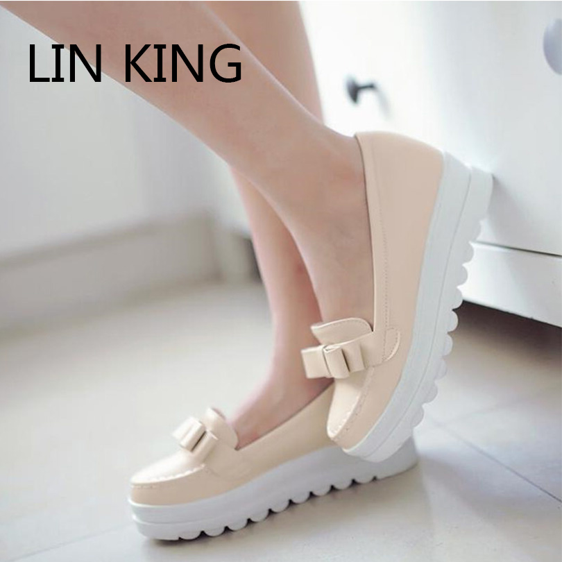LIN KING  Fashion Women Pumps Sweet Bowtie Thick Sole Round Toe Ankle Shoes Slip-On Solid Party Massage Platform Shoes Big Size<br><br>Aliexpress