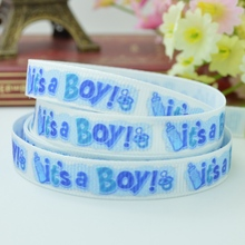 "DUWES 3/8"" 9mm It's a Boy Blue Printed grosgrain ribbon hair bow DIY handmade wholesale Customization OEM 50YD(China)"