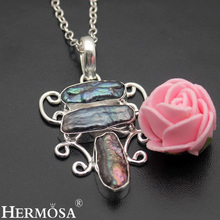 Hermosa Jewelry retro style natural Biwa Pearl made of 925 sterling silver Three-Stone necklace pendant  HF1120